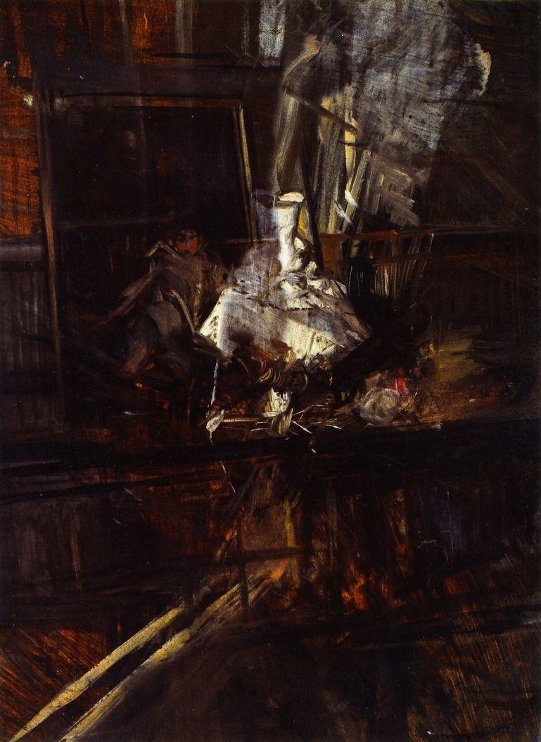 """Giovanni Boldini (Italian, 1842-1931) """"Studio di interno con il ritratto del piccolo Subercaseaux"""" 1899"""