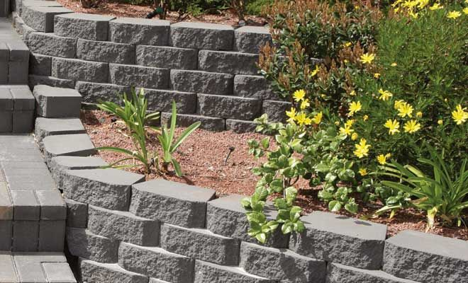 A Pavestone Anchor Windsor Stone Retaining Wall with paver steps