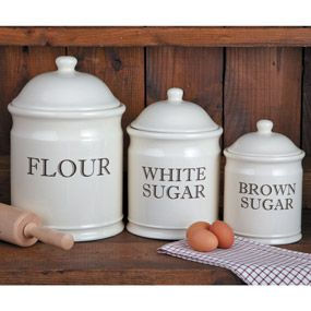 English Bakeru0027s Stoneware Canister Set. Wide Mouth Opening For Easy Filling  And Cleaning. Flour