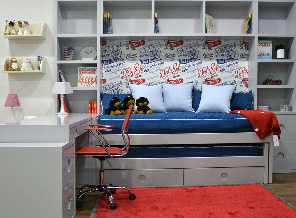 Dormitorio conjunto gris el p jaro carpintero dormitorio for Dormitorios infantiles y juveniles