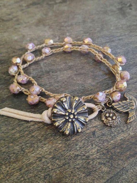 "Garden Love ""Bird Nest"" Multi Wrap Crochet Bracelet, Rose Gold, Bohemian Jewelry $28.00"