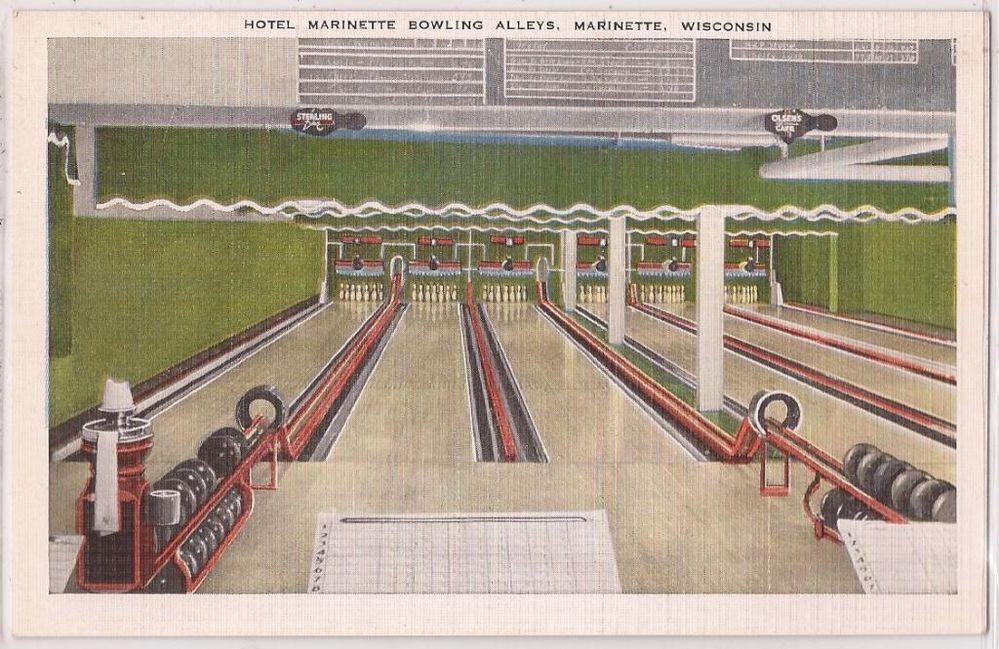 Marinette Wisconsin Postcard Hotel Bowling Alleys Kropp Linen C1940s