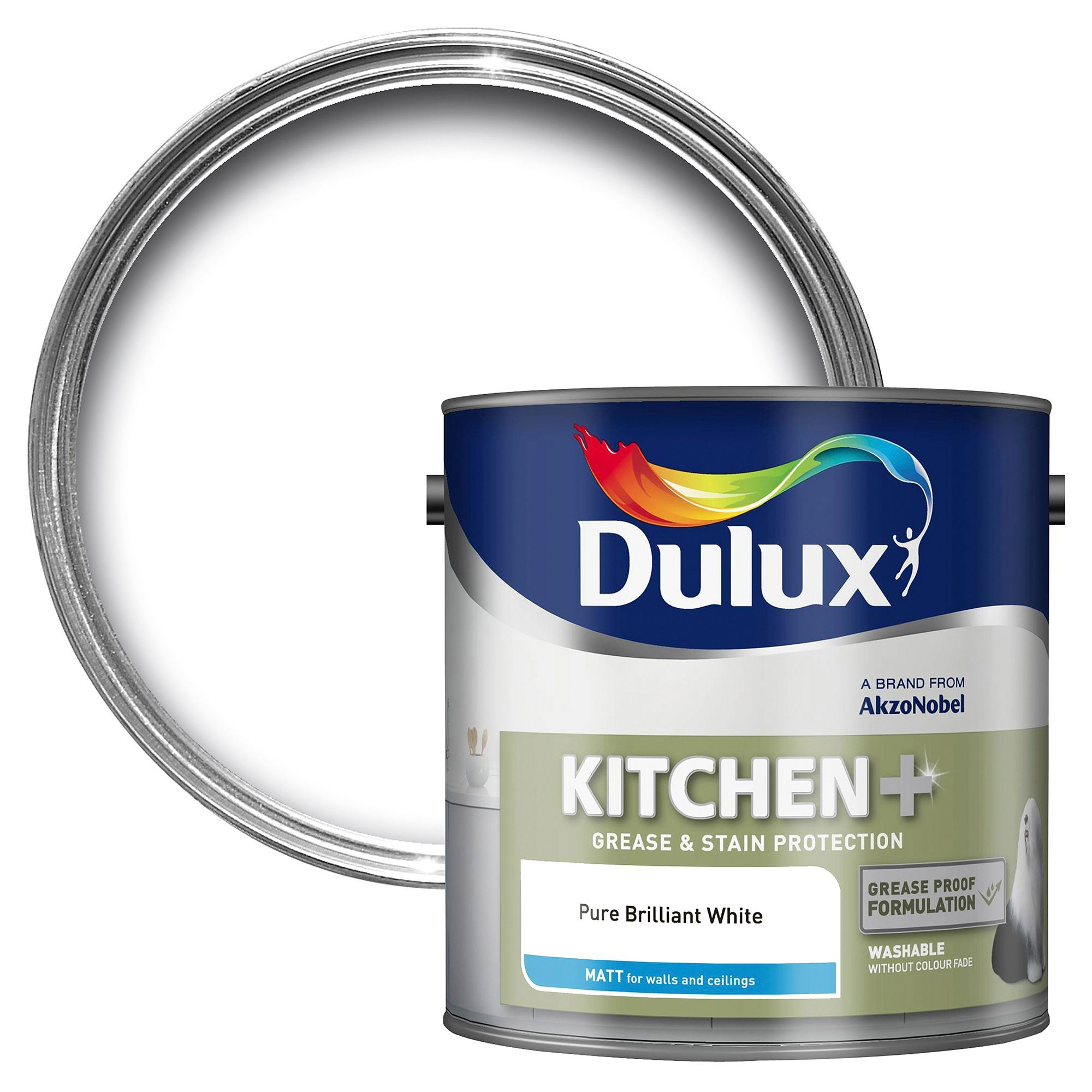 Dulux Kitchen Pure Brilliant White Matt Emulsion Paint 2 5l Departments Diy At B Amp Q Dulux Pure Products Dulux Light And Space