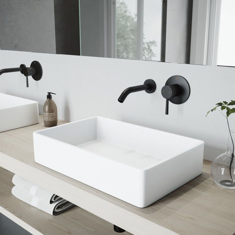 The Graceful Profile And Shallow Basin Design Of The Matte Stone Bathroom Sink Craft Wall Mount Faucet Bathroom Rectangular Sink Bathroom Modern Bathroom Sink