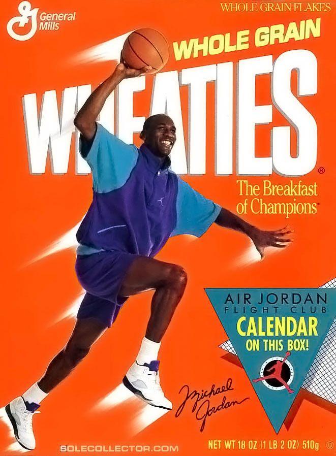Vintage Ad Michael Jordan On Wheaties Box Wearing Grape Air