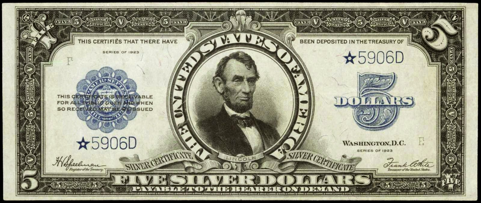 Series 1923 5 Dollars Porthole Silver Certificate Star Note