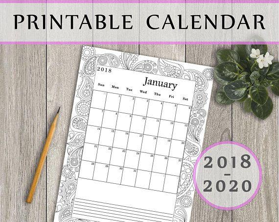 Printable Calendar 2019, 2019, 2020 Digital download Montly