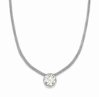 A diamond single stone pendant necklace the brilliant cut diamond a diamond single stone pendant necklace the brilliant cut diamond in a rub aloadofball Image collections