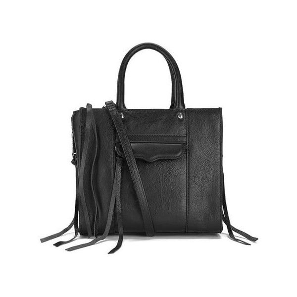 Rebecca Minkoff Women's Mab Mini Tote Bag - Black (21.615 RUB) ❤ liked on Polyvore featuring bags, handbags, tote bags, tote handbags, black tote purse, leather tote handbags, leather handbags and rebecca minkoff tote