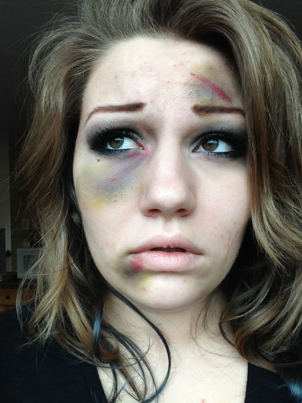 Beat up fake bruises makeup gonna have to figure out what stage