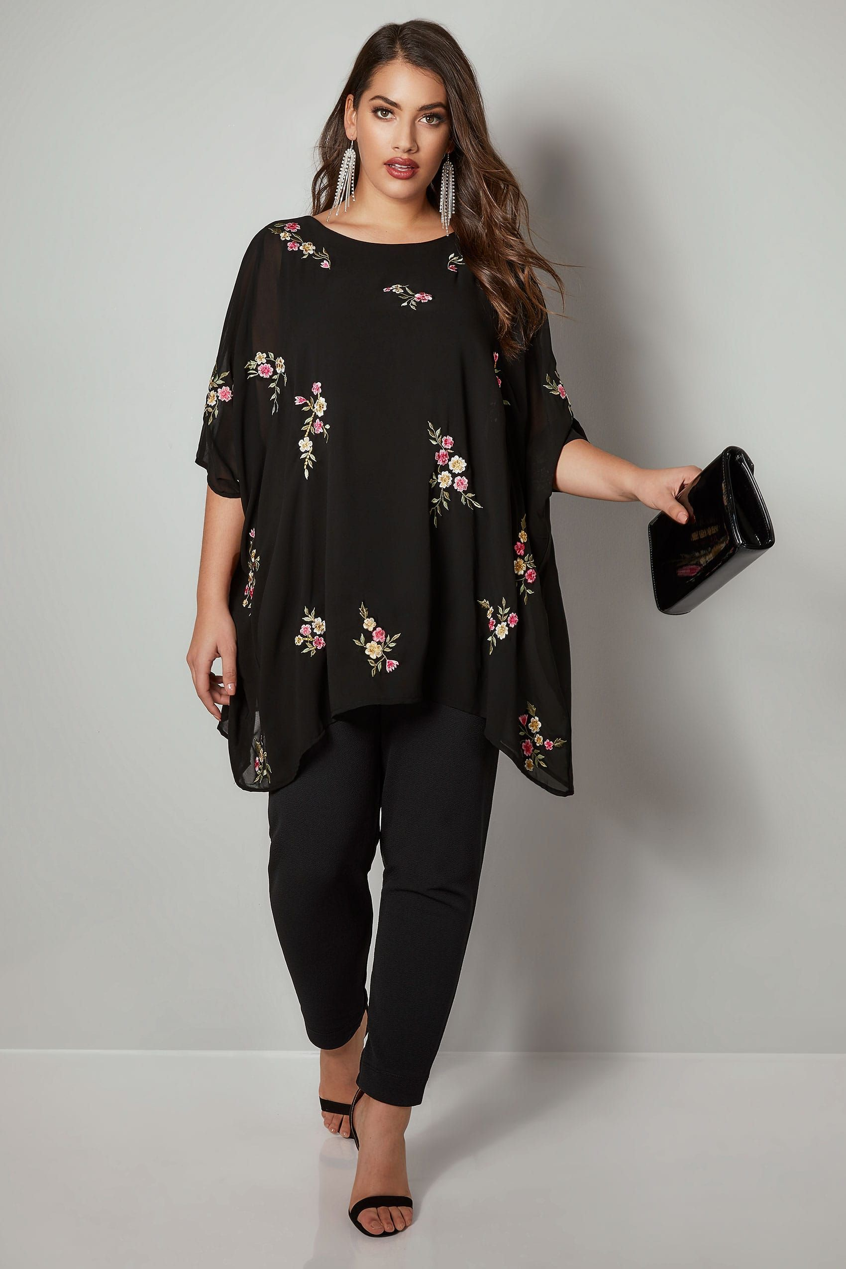 3aa4c797f958c4 YOURS LONDON Black Floral Embroidered Chiffon Cape Top in 2019 ...