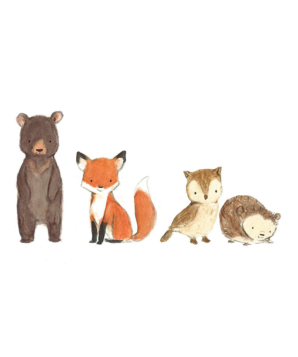 Woodland Friends Decal | Crafts | Animal drawings ...