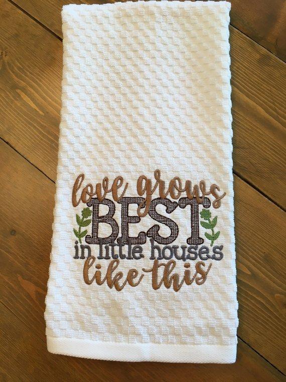 Farmhouse Embroidered Decorative Kitchen Towel Dish Towel Tea