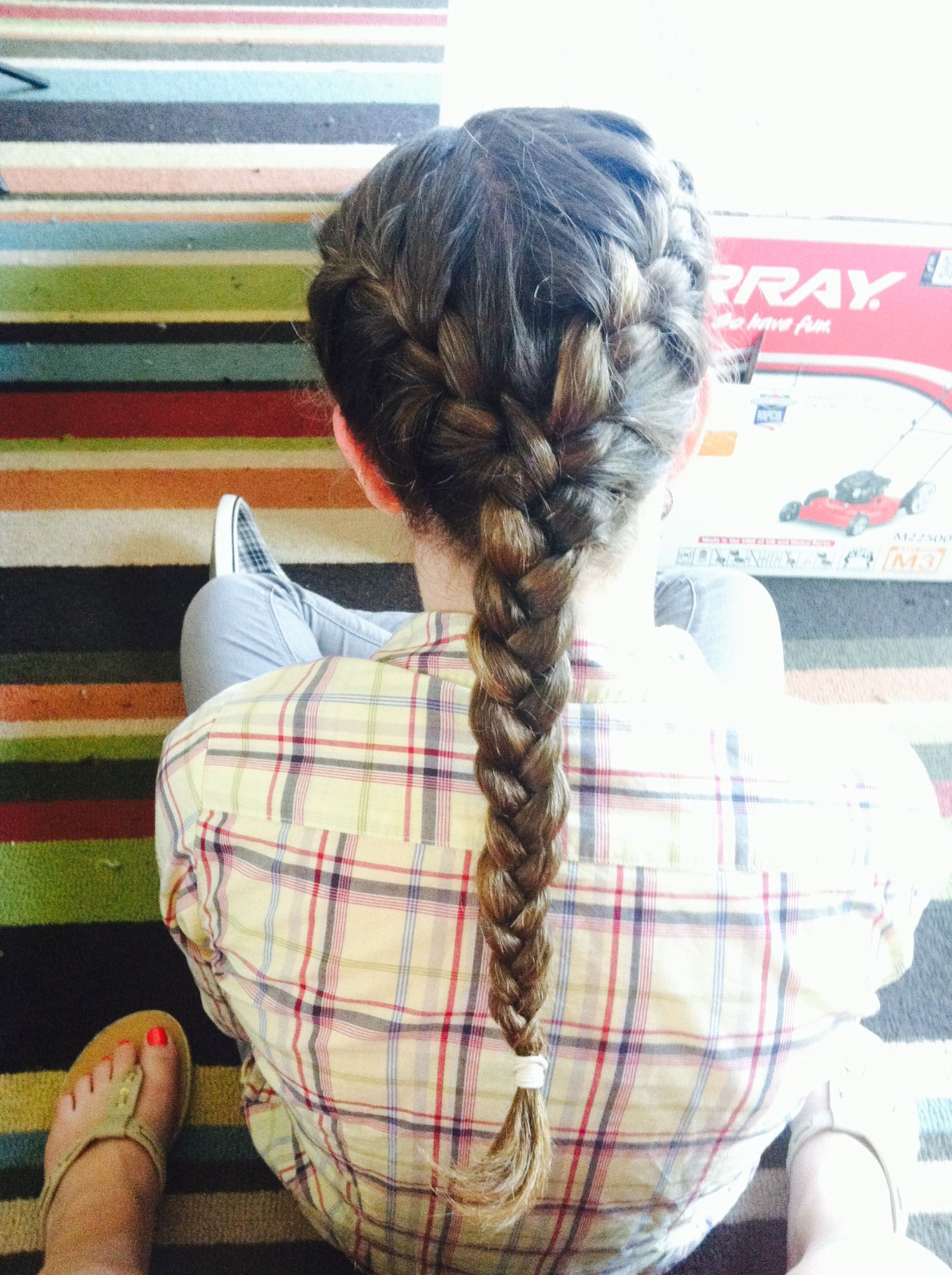 Side Part Double French Braid Into One Braid Double French Braids Hair Makeup French Braid