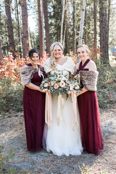 Fall Wedding Bridesmaid Dress Idea Long Cranberry Red Dresses With Light Brown Shawls Jacquelynn Brynn Photography