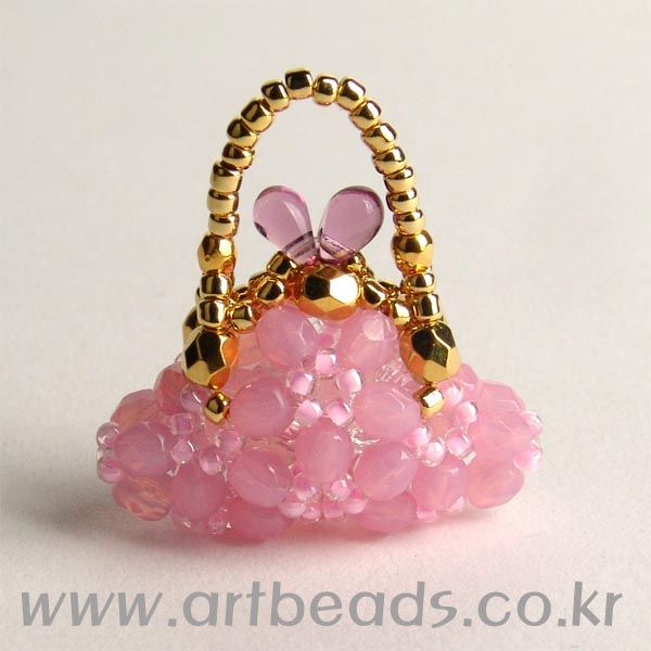 beaded mini purse pattern artbeads pink beaded objects