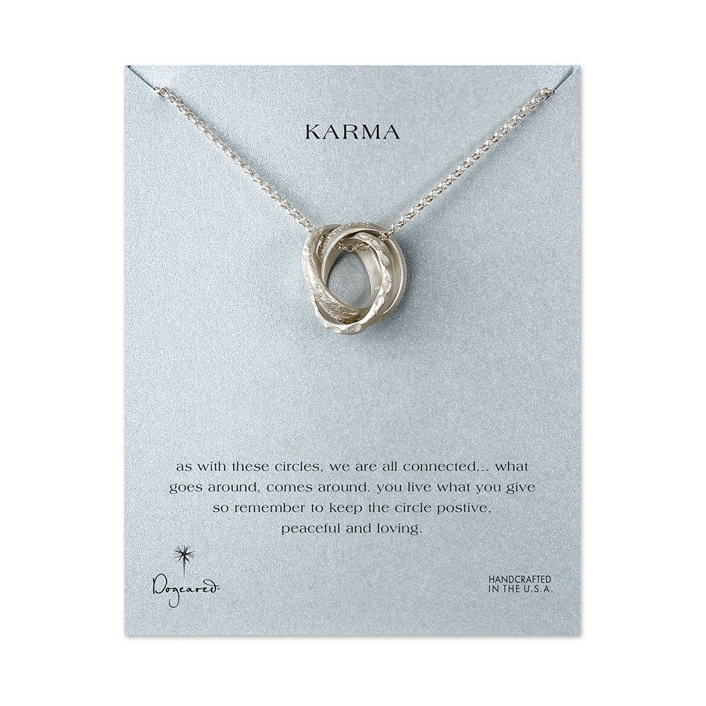 karma large textured interlocking rings necklace, silver dipped, 32 inch -  Dogeared