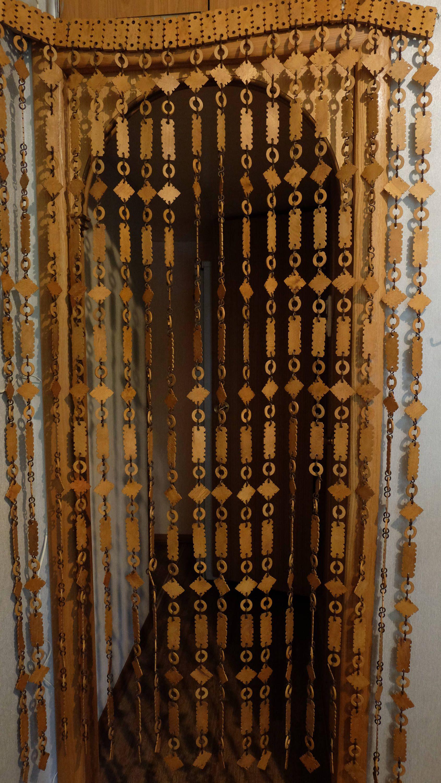 vintage wood curtain door beads