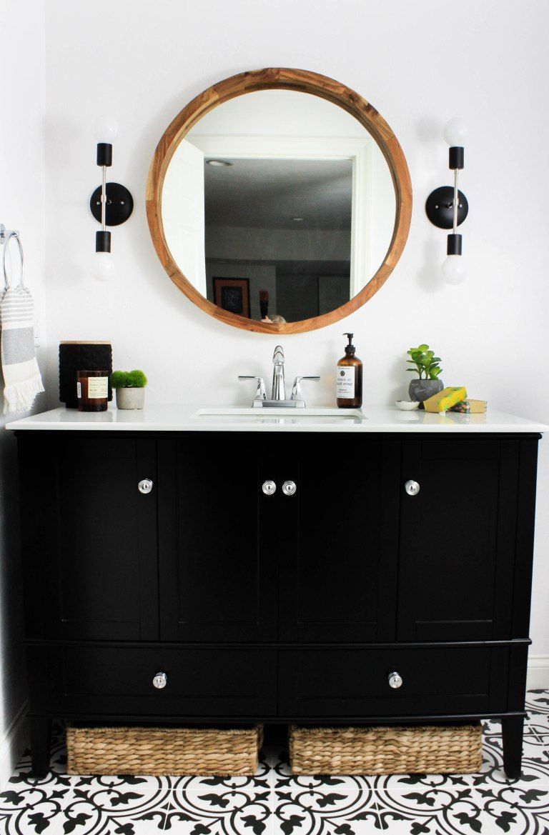 Transitional Black and White Bathroom Reveal - W Collective Interiors