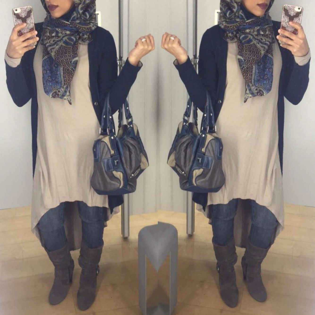 Navy Blue Grey And Beige Great Color Combo Modesty Hijab