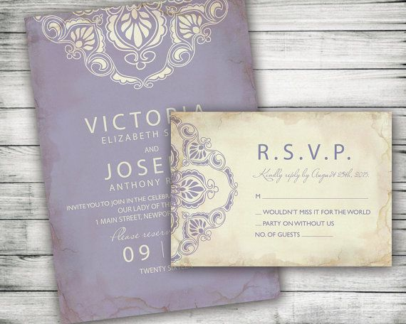 Khmer Wedding Invitations: Romantic Lavender Marriage Invitation With RSVP Card By