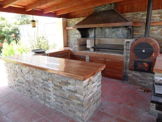 Interior de barbacoa con piedra y semicerrada exterior - Barbacoa de interior ...
