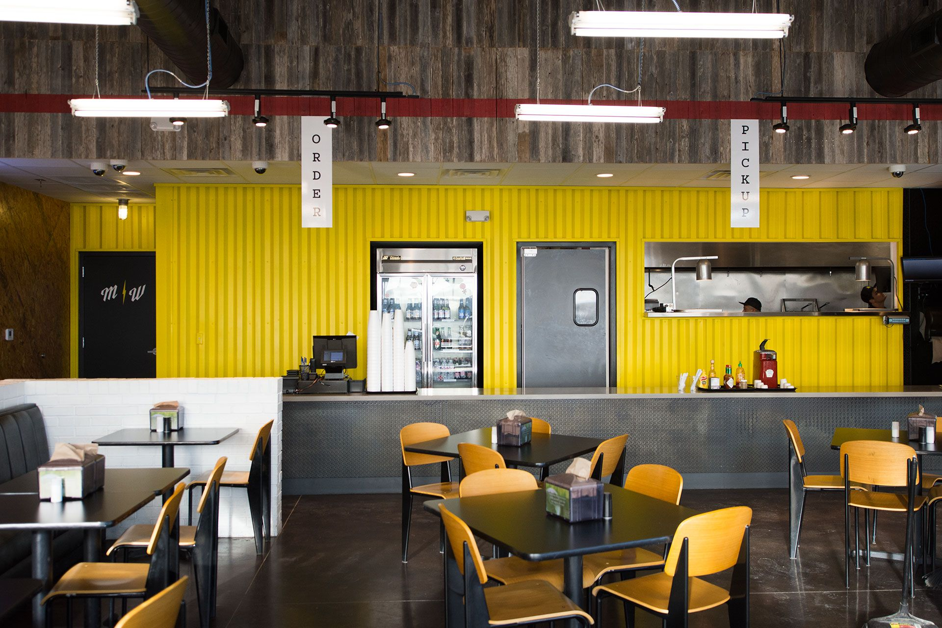 Flash burger fast casual restaurant branding interior