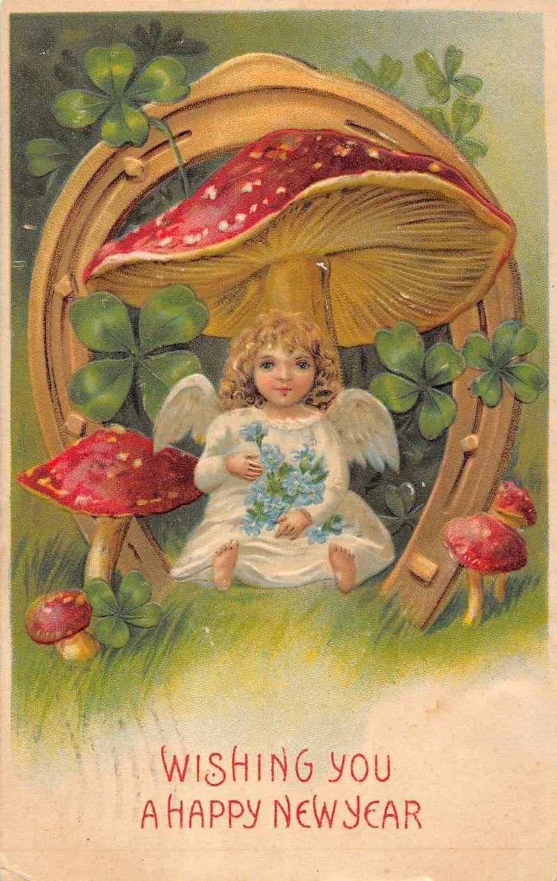 Happy New Year Little Girl Underneath Mushrooms Clovers