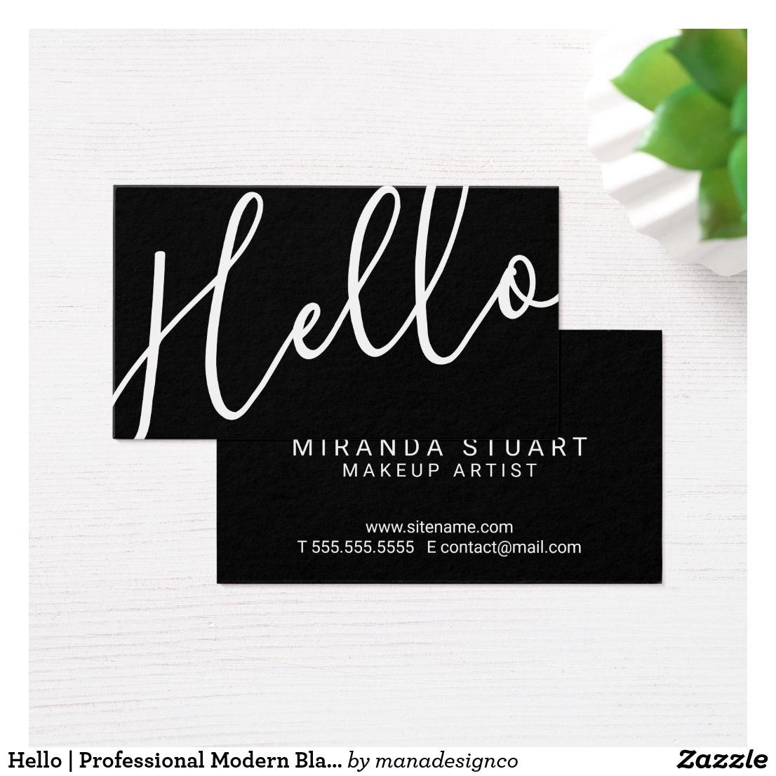 Hello professional modern black and white business card make up make up hello professional modern black and white business card colourmoves