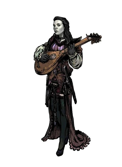 Female Pale Lute Bard - Pathfinder PFRPG DND D&D d20 fantasy