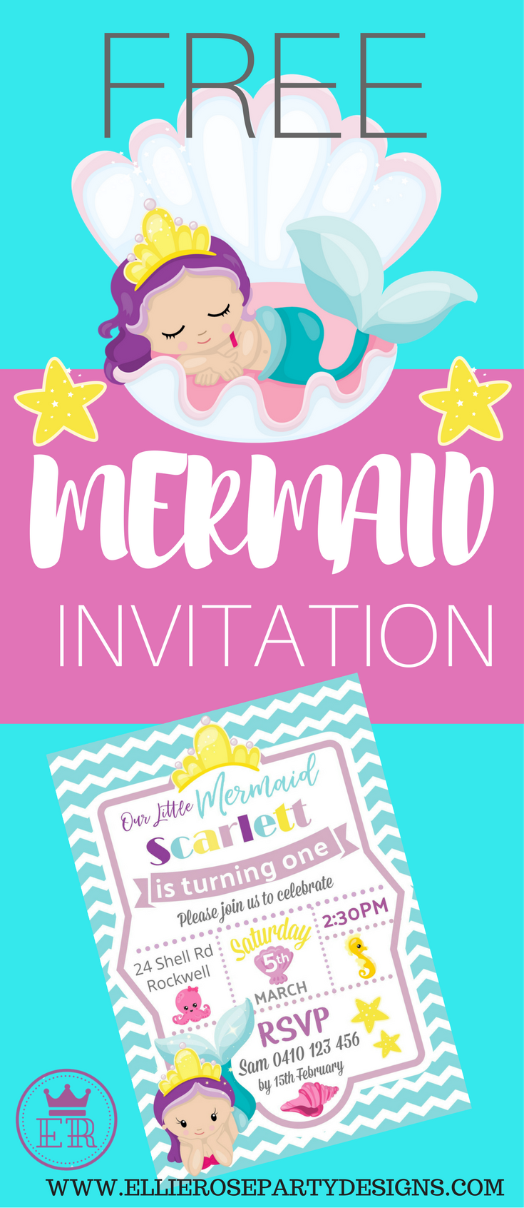 Free Mermaid Under The Sea Invitation Template To Download Step By Tutorial On How I Made It Is Included