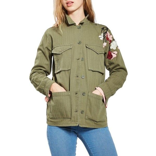 1c2637e3d Women's Topshop Embroidered Army Shirt Jacket ($100) ❤ liked on Polyvore  featuring outerwear, jackets, olive, army utility jacket, embroidered jacket,  ...