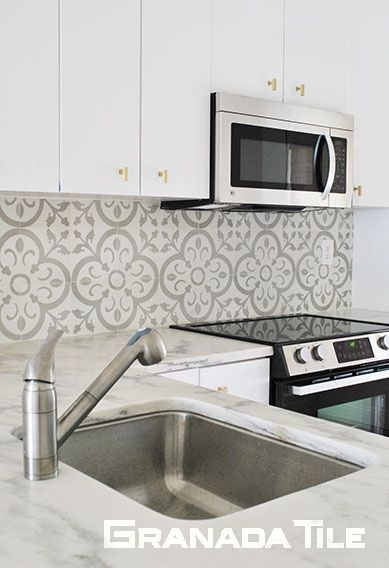 Encaustic Cement Tile Kitchen Backsplash Contemporary Kitchen