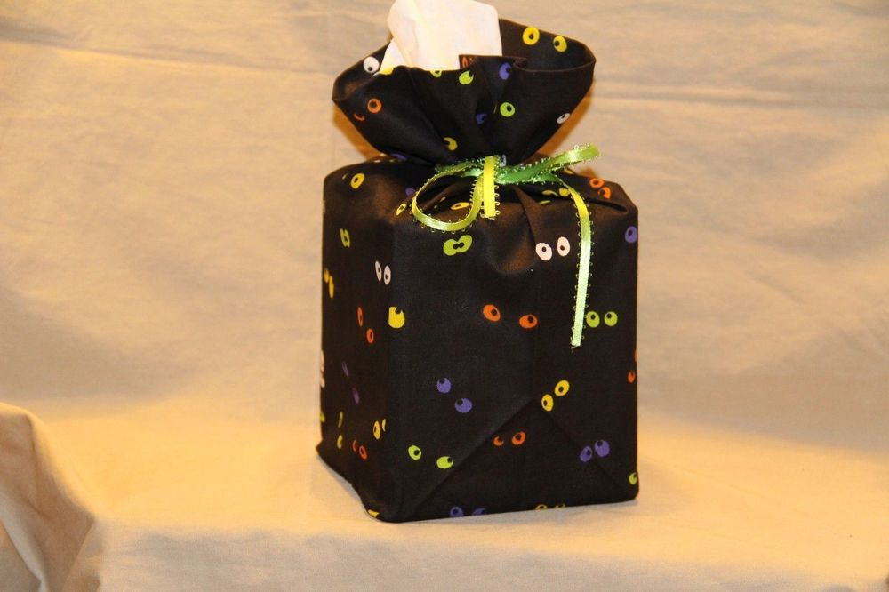Halloween Spooky Eyes 100% cotton fabric tissue box cover fabric gift bag cube #Handmade