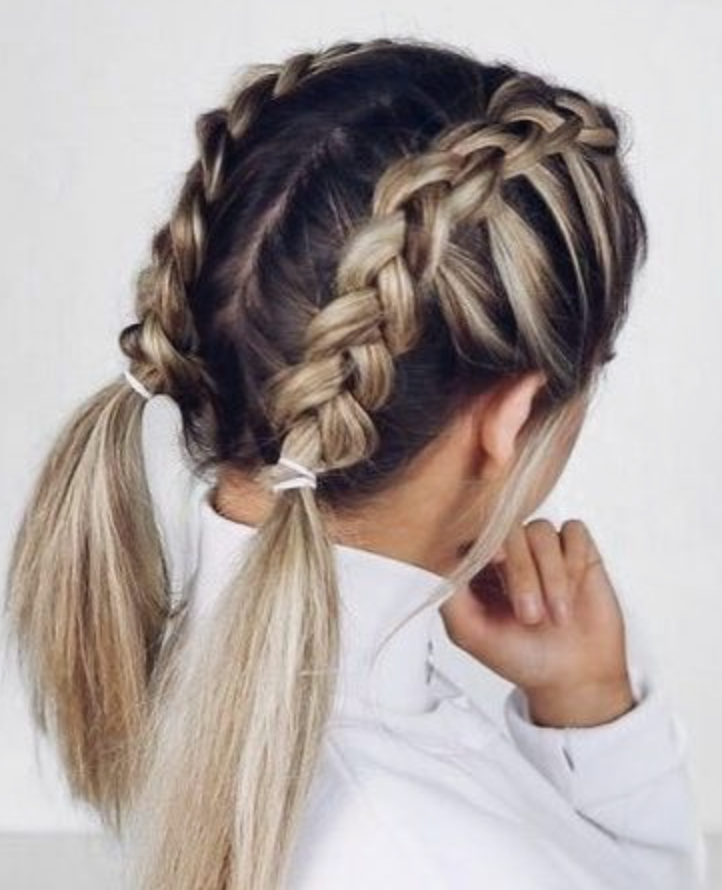 Double Dutch French Braids Blonde Balayage Highlights Long Hair Updo Ideas Cute Hairstyles For Short Hair Short Hair Styles Hair Waves