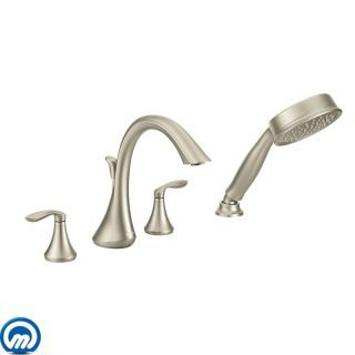 Moen T944bn Brushed Nickel Deck Mounted Roman Tub Filler Trim With Personal Hand Shower And Built In Diverter From The Eva Collection Less Valve In 2020 Roman Tub Faucets Tub Faucet Moen