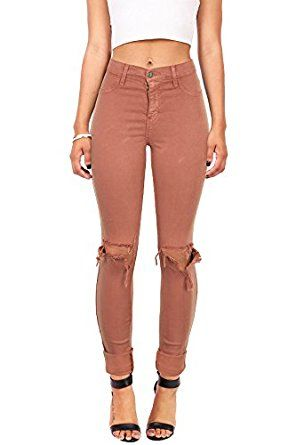 7e6441558c3b9c Vibrant Women's Juniors Faded High Waist Jeans w Knee Rips at Amazon  Women's Jeans store