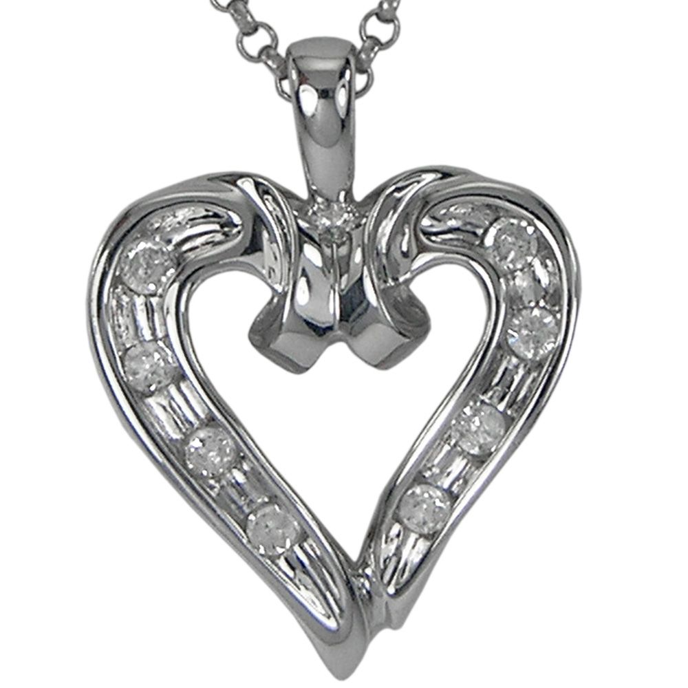 Diamond heart necklace in k white gold with diamond accent u a