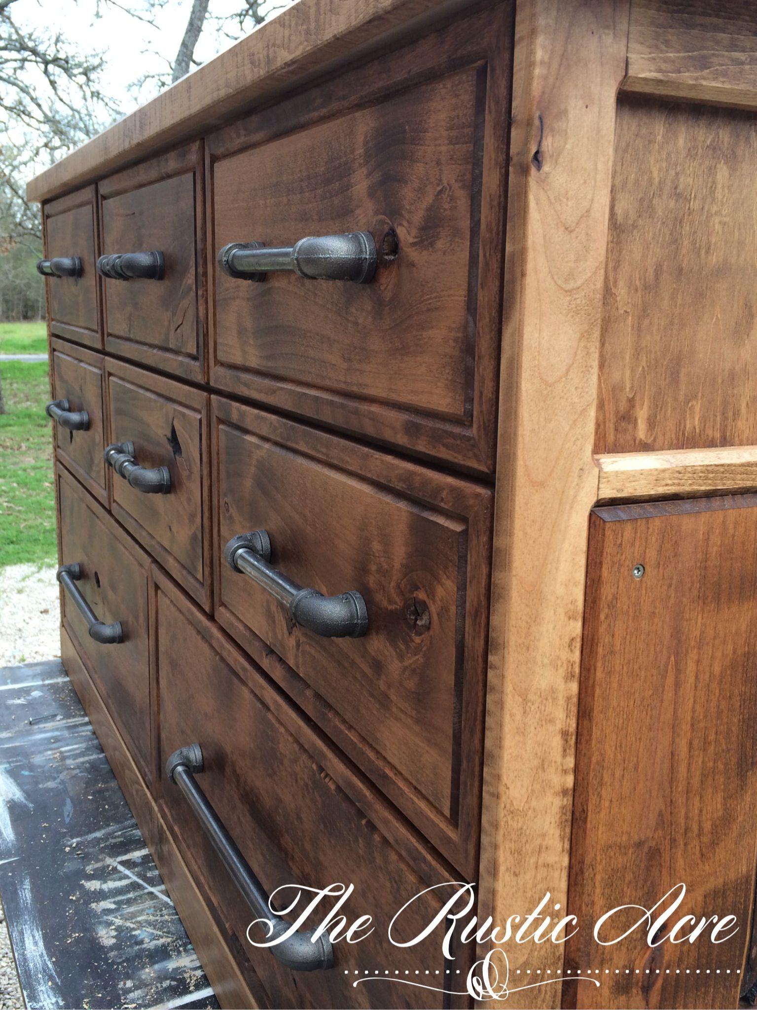 Custom Built Rustic Dresser with knotty Alder and Maple hardwood ...