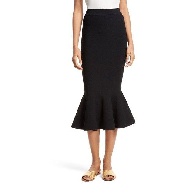 fe079e78cf58 Women's Milly Mermaid Hem Midi Skirt ($350) ❤ liked on Polyvore featuring  skirts, black, knit skirt, stretch midi skirt, mid calf skirts, knit ruffle  skirt ...