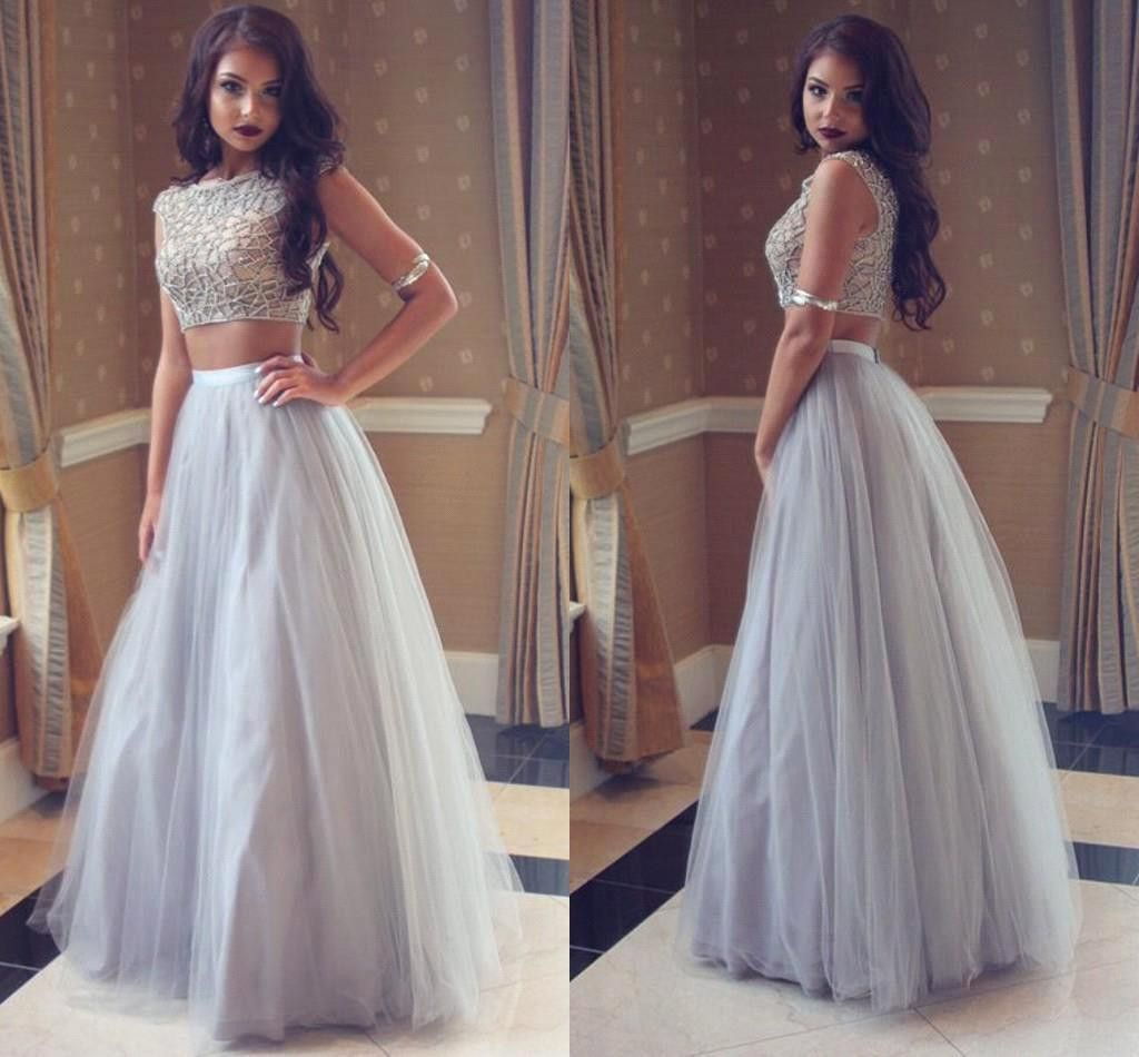 Unique Gray tulle two pieces long prom dress gray evening dress ...