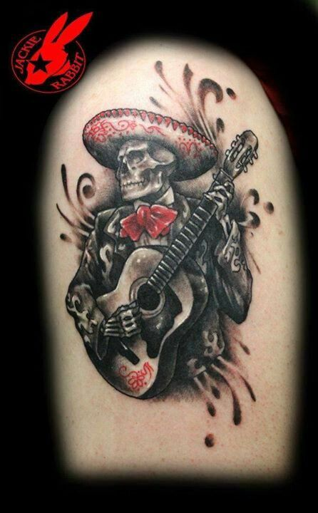 Esqueleto Mariachi Tattoo Dia De Los Muertos Tatuaje Guitarra Tatuaje De Arte Craneos Y Calaveras