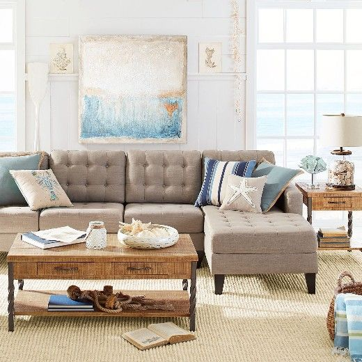 16 Neutral Coastal Living Room Designs & Decor Ideas ...