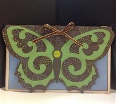 Butterfly card using Damask Decor cartridge.