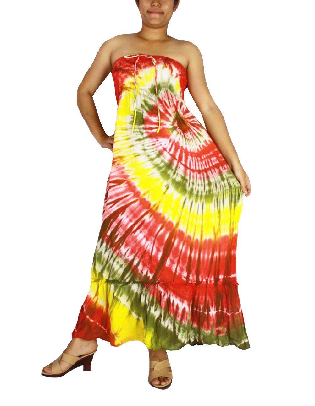Siamu hippie boho tie dye cotton long halter back smock maxi dress