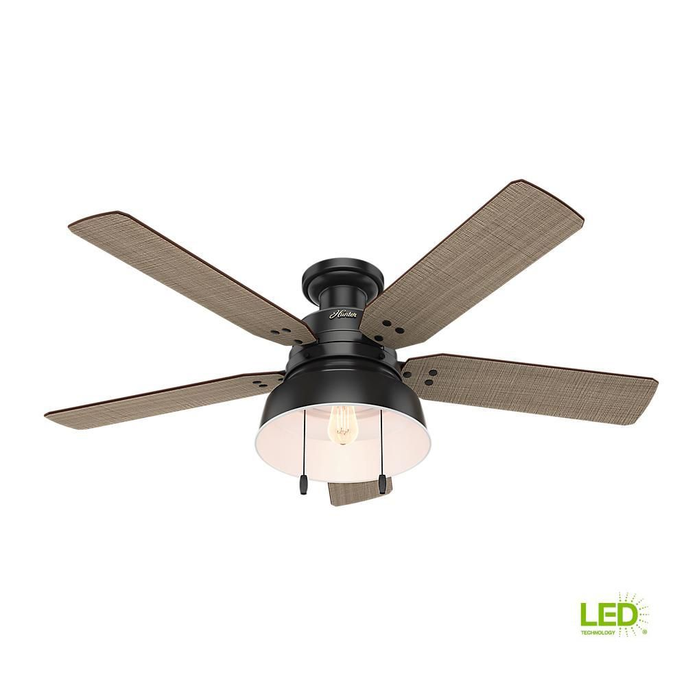 Hunter Mill Valley 52 In Led Indoor Outdoor Low Profile Matte Black Ceiling Fan With Light 59310 The Home Depot Black Ceiling Fan Ceiling Fan With Light Flush Mount Ceiling Fan