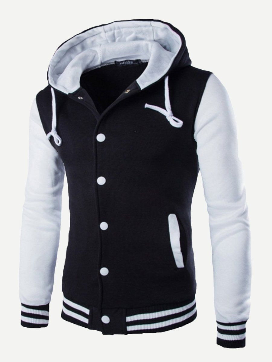 3e9cf109deb1 Men Cut And Sew Panel Hooded Jacket (Black White) in 2019
