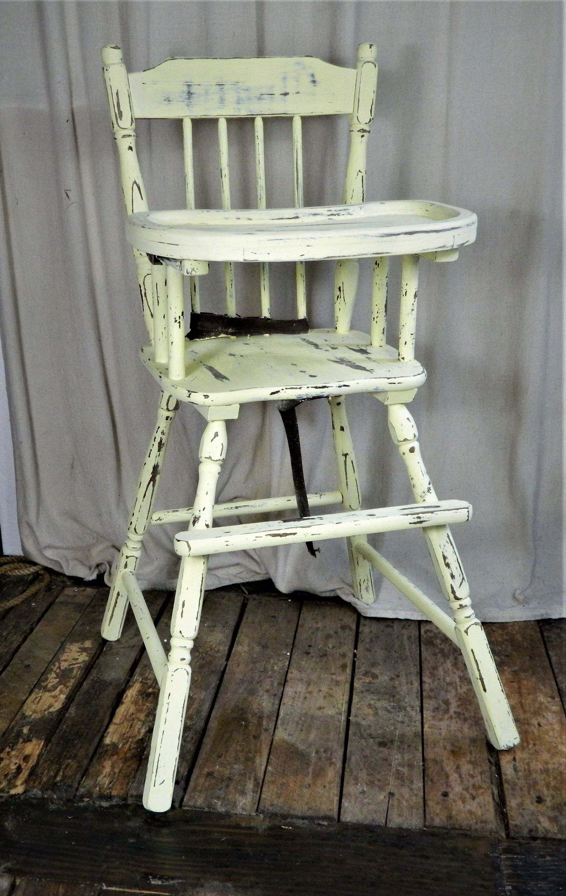 Vintage Wood High Chair Hand Painted and Distressed Safety