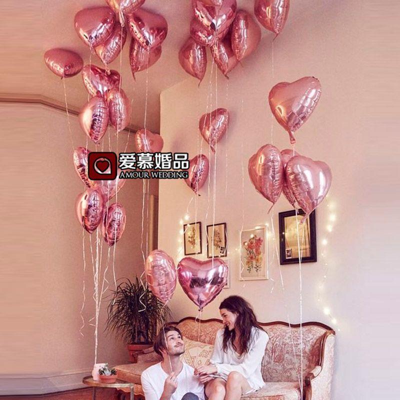 10 Stks 18 Inch Parel Roze Liefde Folie Hart Helium