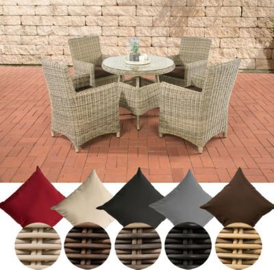Poly-Rattan Sitzgruppe CASOLI, 4 Stühle mit Tisch 90 x 90 cm